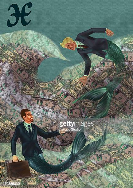 pisces businessmen in the sea of wealth - cash flow stock illustrations, clip art, cartoons, & icons