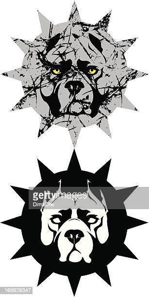 ilustraciones, imágenes clip art, dibujos animados e iconos de stock de pit bull terrier - pit bull terrier