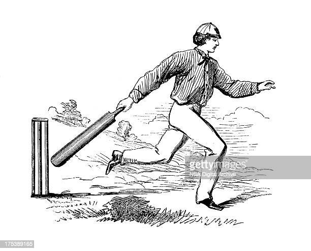 Pitching the wickets | Antique Cricket Illustrations