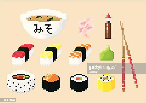 ピクセルアート寿司セット - 寿司点のイラスト素材/クリップアート素材/マンガ素材/アイコン素材