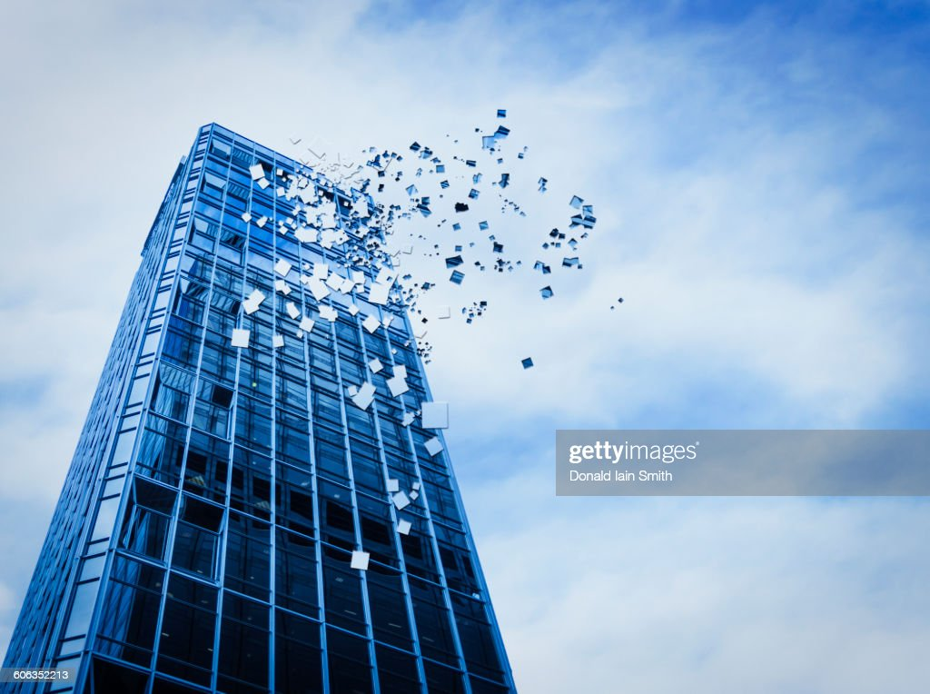 Pixelated highrise building and cloudy sky : stock illustration