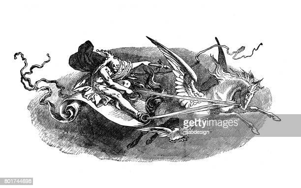 pixie having a flying horse in front as horsepower 1867 - illustration - pegasus stock illustrations, clip art, cartoons, & icons