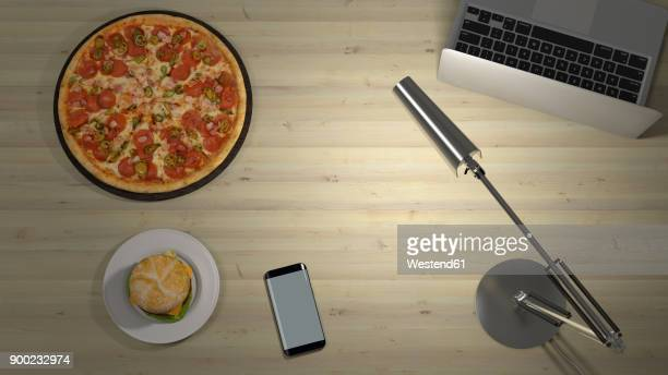 pizza and hamburger on a desk with lamp and laptop - mobile app stock illustrations