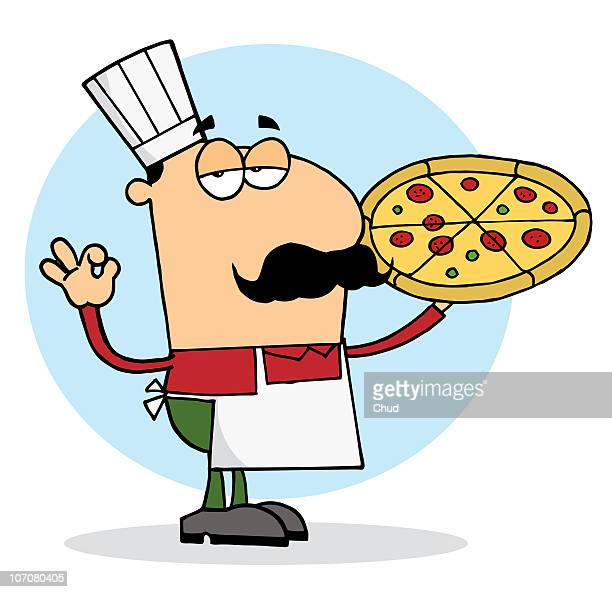pizza chef man with his perfect pie - chef stock illustrations