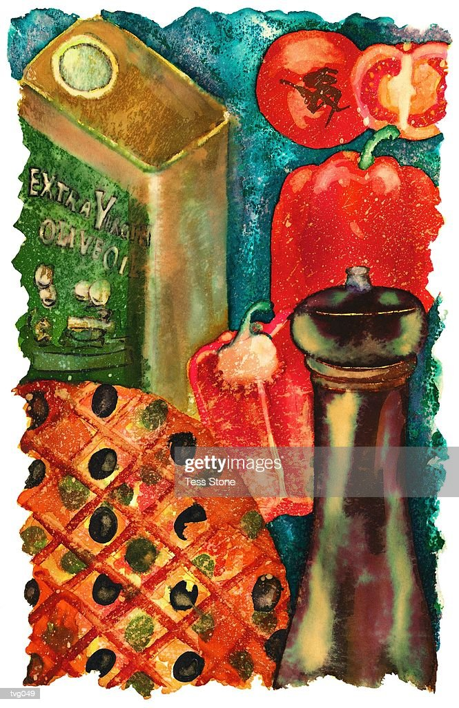 Pizza & Ingredients : Stock Illustration
