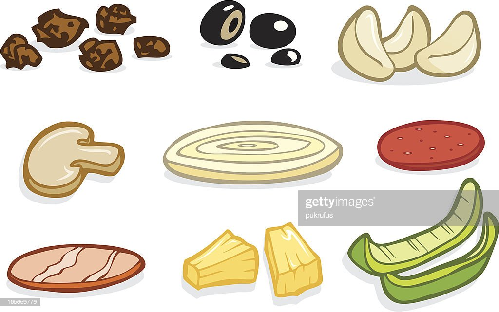 pizza toppings vector art getty images rh gettyimages com Whole Pizza Clip Art Printable Pizza Toppings