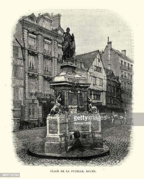 place de la pucelle, rouen, france, 19th century - rouen stock illustrations, clip art, cartoons, & icons