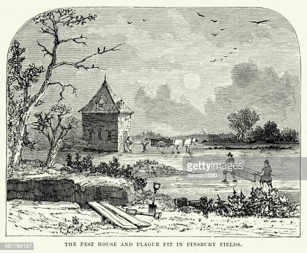 plague pit in finsbury fields - epidemic stock illustrations