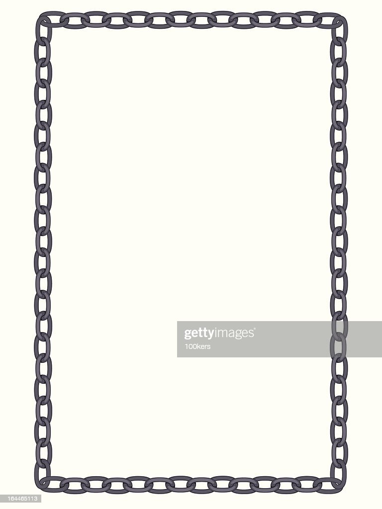 plain and simple metal chain frame isolated