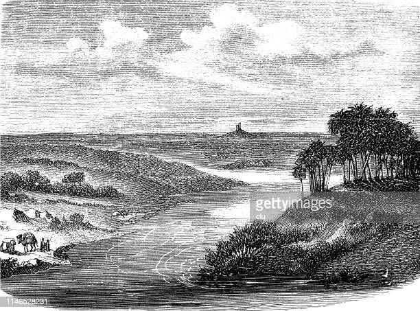 plain of ancient babylon with the tower of nimrod - ancient babylon stock illustrations