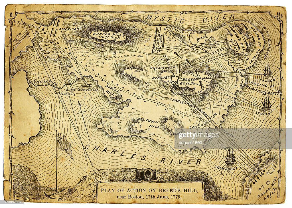 Plan of action at the Battle on Breed's Hill : stock illustration