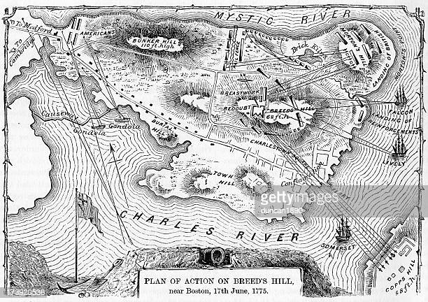 plan of action at the battle on breed's hill - bunker hill monument stock illustrations