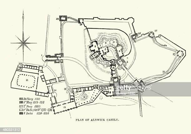 plan of alnwick castle - northumberland stock illustrations, clip art, cartoons, & icons