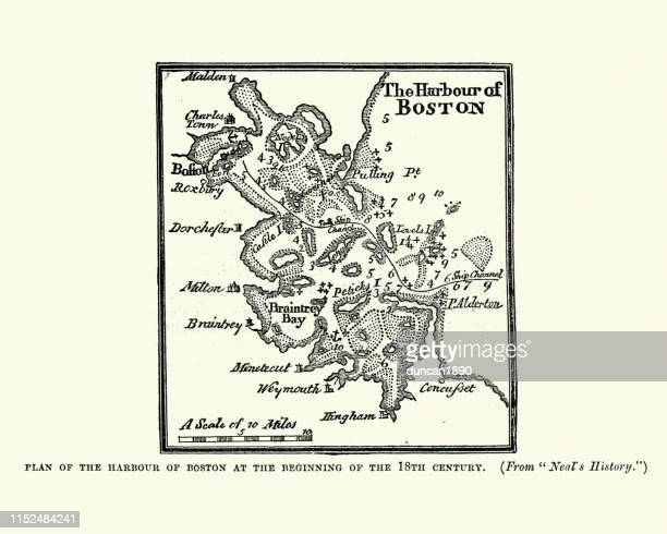 plan of boston harbour in the 18th century - boston harbor stock illustrations, clip art, cartoons, & icons