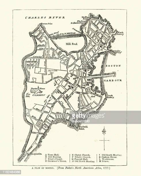 plan of boston in the late 18th century - boston massachusetts stock illustrations