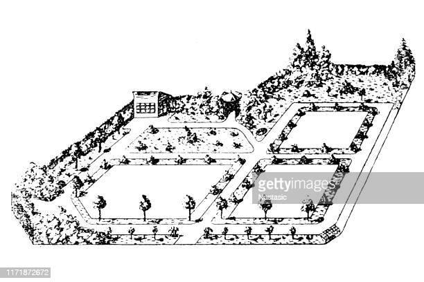 plan of garden land - landscape gardener stock illustrations, clip art, cartoons, & icons
