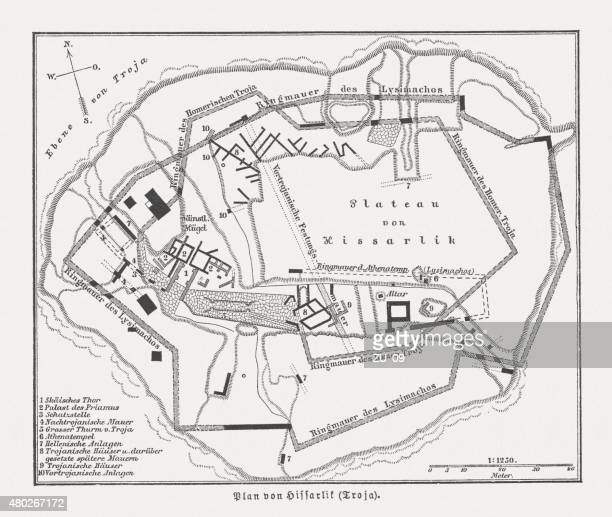 plan of hisarlik (troy), wood engraving, published in 1880 - archaeology stock illustrations
