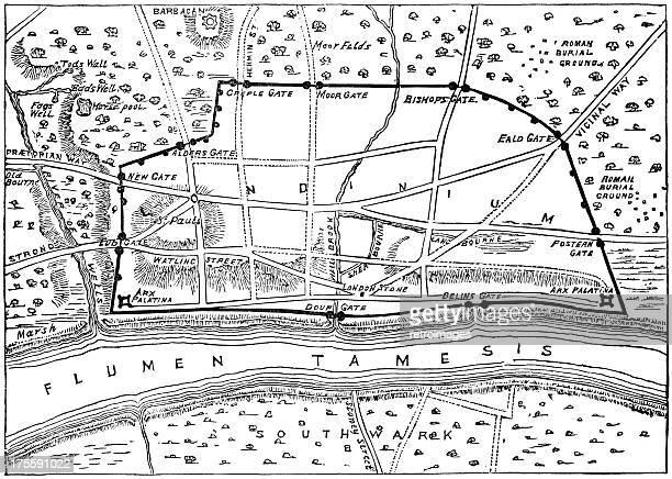 Plan of Roman London (engraved illustration)