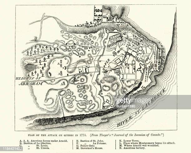 plan of the battle of quebec (1775) - quebec city stock illustrations