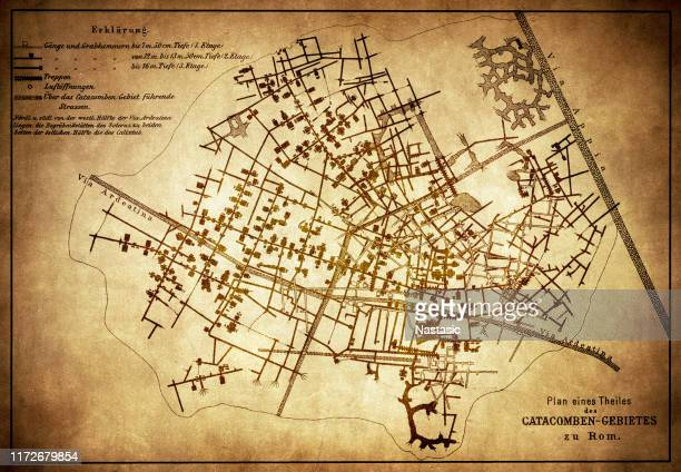 plan of the catacombs in rome - trastevere stock illustrations