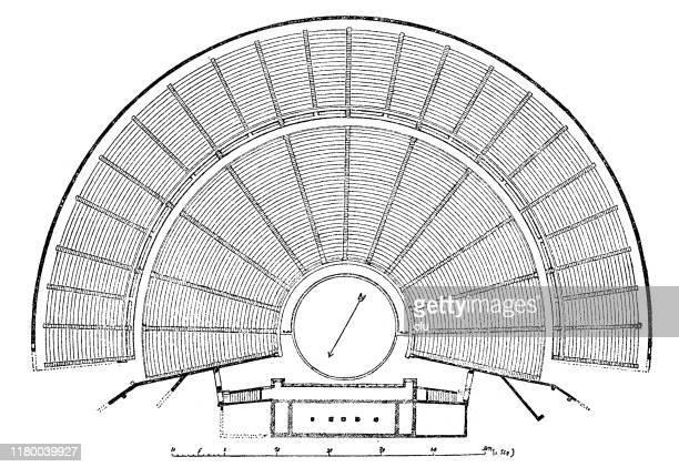 plan of the epidaurus theater - epidaurus stock illustrations