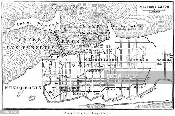 plan of the old city alexandria 1895 - thebes egypt stock illustrations