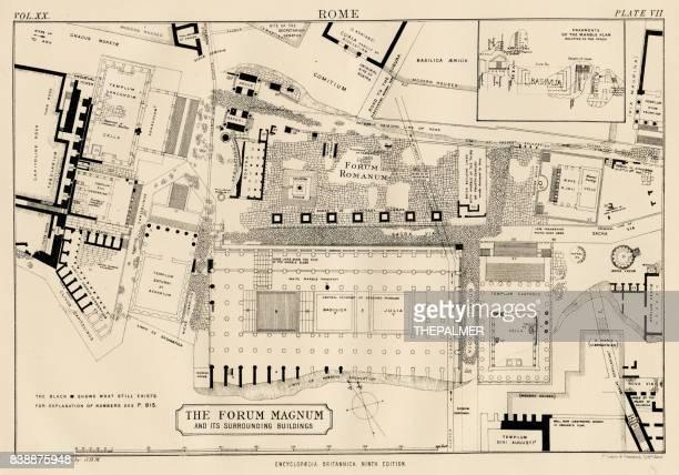 plan of the roman forum 1883 - roman forum stock illustrations