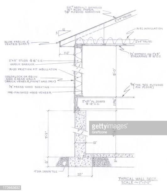 plan of wall section - inch stock illustrations