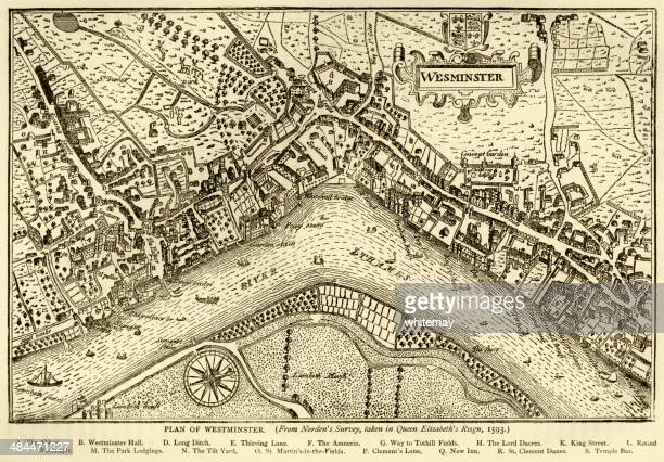 plan of westminster, 1593 - 16th century style stock illustrations, clip art, cartoons, & icons