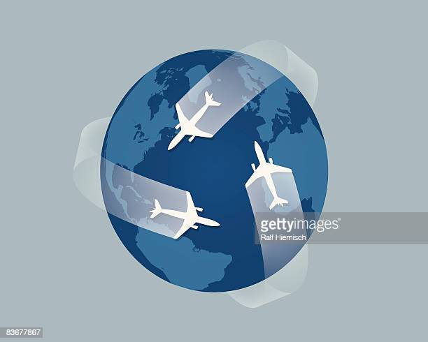 planes flying across the globe - four objects stock illustrations