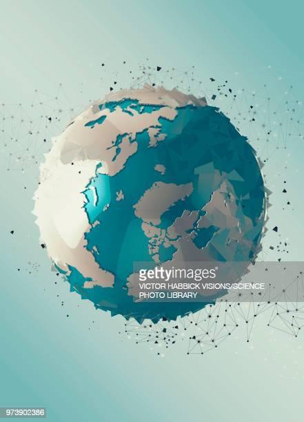 planet earth, illustration - victor habbick stock illustrations