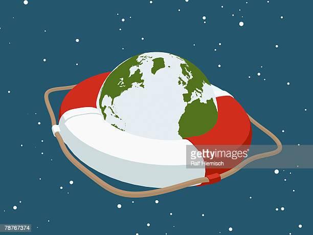 planet earth inside a life ring - rettung stock-grafiken, -clipart, -cartoons und -symbole