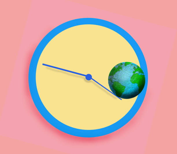 planet earth rolling of the hands of a clock