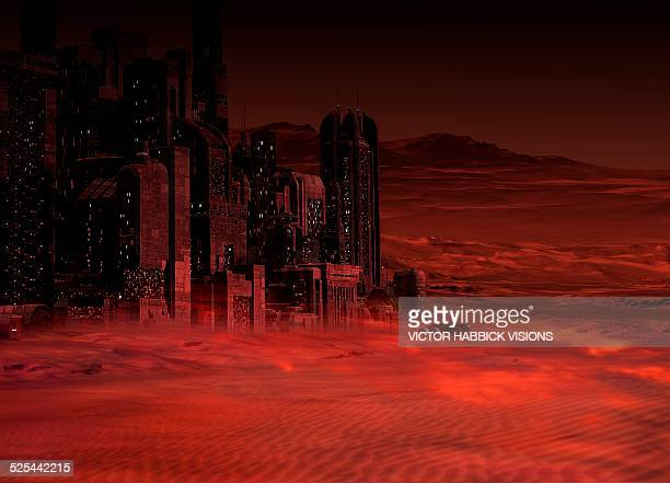 planet mars in the future - head above water stock illustrations