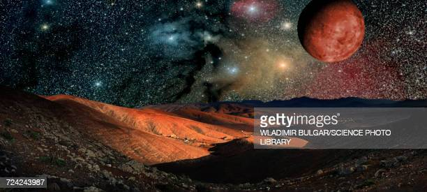 Planet surface with stars and planets