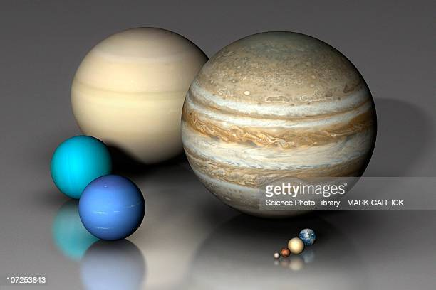 planets compared - scale stock illustrations