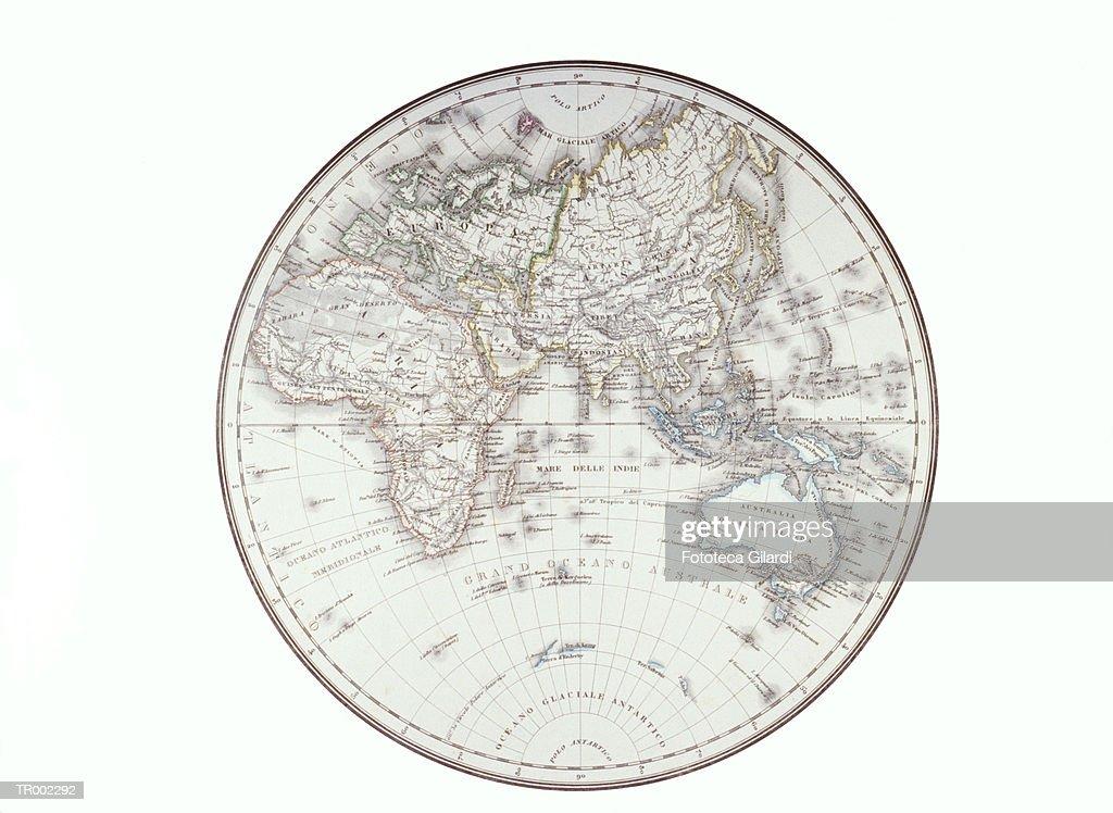 Planispheric Map Of The Eastern Hemisphere Stock-Illustration ...