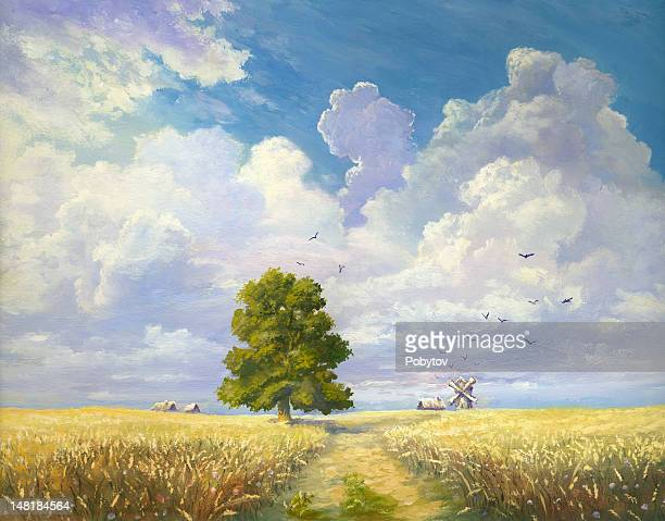 plant of wheat - pasture stock illustrations