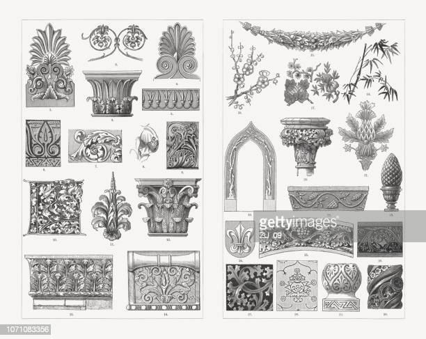 plant ornaments, wood engravings, published in 1897 - greece stock illustrations