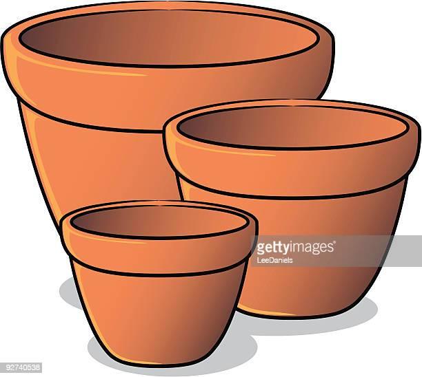 plant pots - pottery stock illustrations, clip art, cartoons, & icons