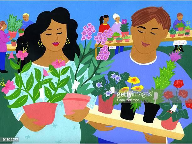 ilustraciones, imágenes clip art, dibujos animados e iconos de stock de a plant sale - puesto de mercado