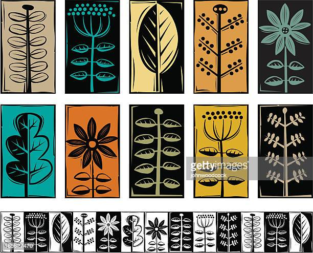 plant symbols - woodcut stock illustrations