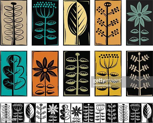 植物のシンボル - 木版画点のイラスト素材/クリップアート素材/マンガ素材/アイコン素材