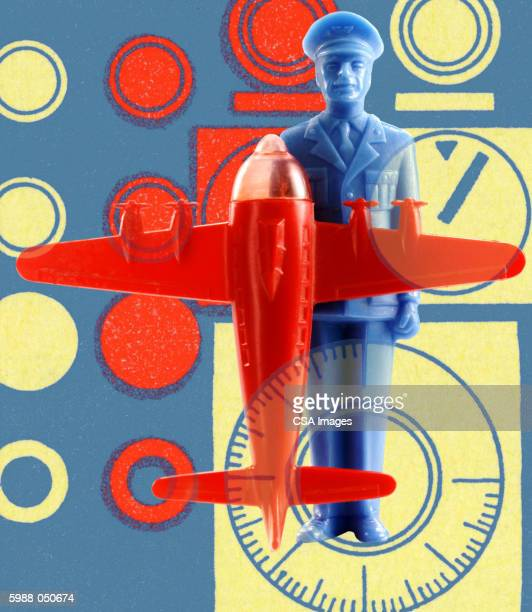 plastic airplane and pilot - heroes stock illustrations