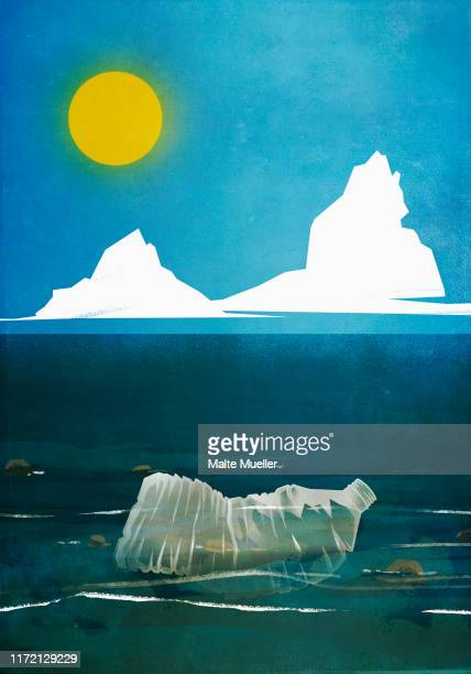 plastic bottle floating in ocean water - water pollution stock illustrations