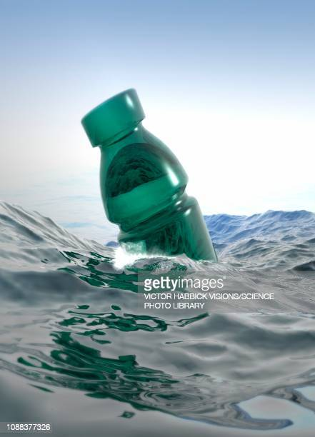 plastic bottle floating in sea, illustration - plastic stock illustrations