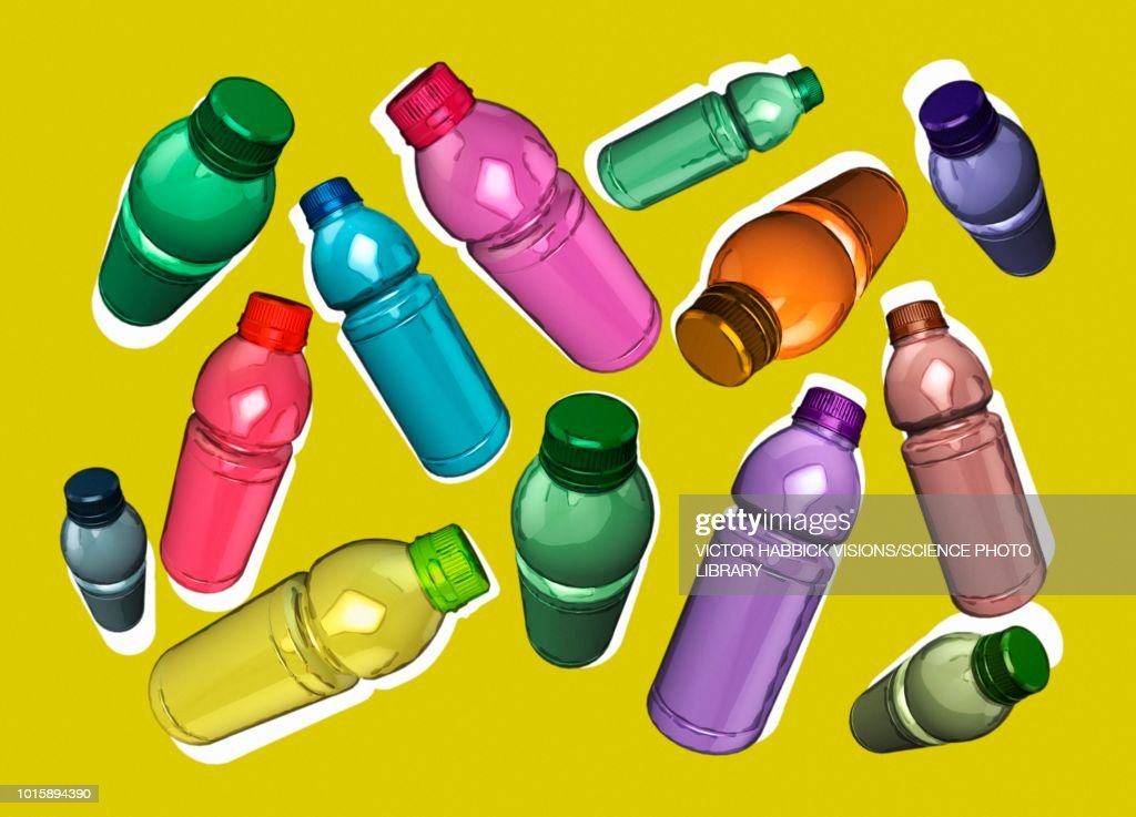 Plastic bottles, illustration : Stock Illustration
