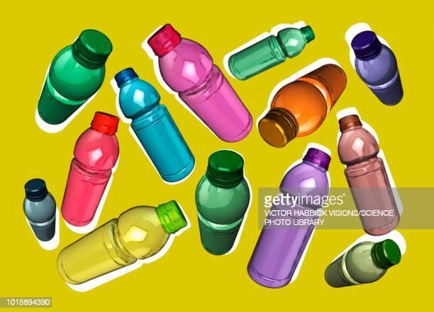 plastic bottles, illustration - victor habbick stock illustrations