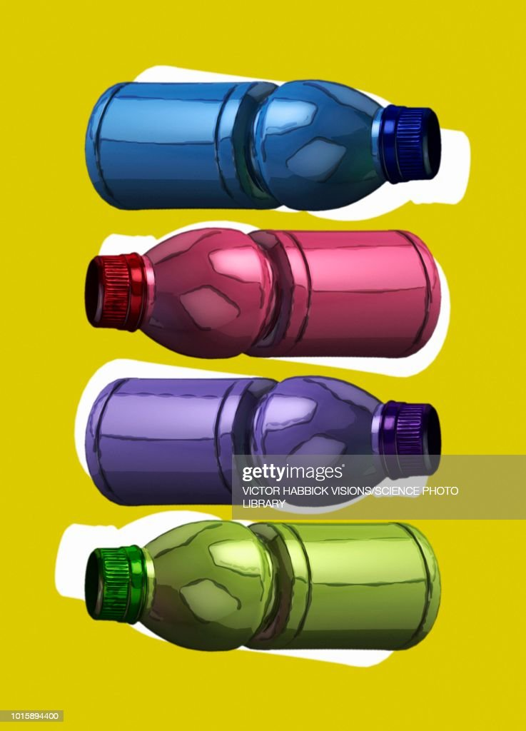 Plastic bottles, illustration : Stock Illustration
