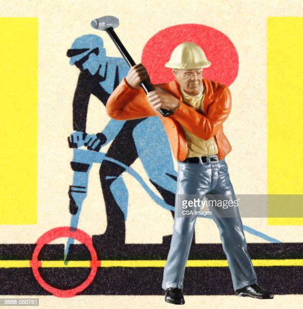 plastic construction worker - figurine stock illustrations, clip art, cartoons, & icons